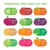 Fresh juice colorful round vegetables icon set and pattern for market or cafe — Vetorial Stock