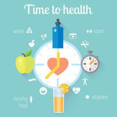 Healthy lifestyle illustration and info-graphic with clock. — Stockvektor