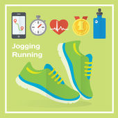 Jogging and running concept flat icons — Stock Vector