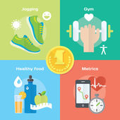 Icons of gym, healthy food, metrics. — Stock Vector