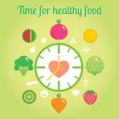Time for healthy food info graphic clock. — Stock Vector