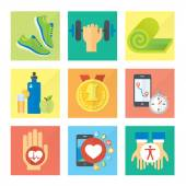 Sport and healthy life concept flat icon set — Vetorial Stock
