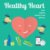 Healthy heart concept  icons — Stock Vector