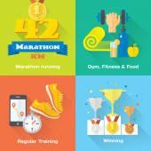 Marathon winner  icons — Stock Vector