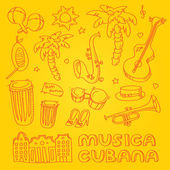 Cuban music illustration with musical instruments, palms, traditional architecture. — Stockfoto