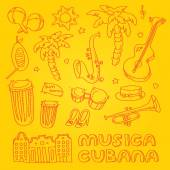 Cuban music illustration with musical instruments, palms, traditional architecture. — Stok fotoğraf