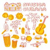 Cuban music illustration with musical instruments, palms, traditional architecture. — Stock Photo