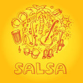 Salsa music and dance illustration with musical instruments, palms, etc — Stock Photo