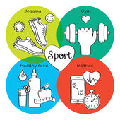 Healthy life concept handdrawn icons of jogging, gym, healthy food, metrics. — Stock Photo