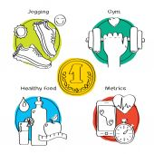 Jogging and running winner concept handdrawn icons of gym, healthy food, metrics. — Stock Photo