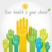Green, yellow and blue hands with symbols of healthy lifestyle, food, sport. — Stock Photo