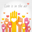 Valentines or support background, greeting card with hands and hearts. — Stock Photo #61613351