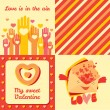 Valentines Day four greeting cards and pattern set. — Stock Photo #61613359