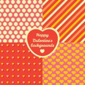 Valentines Day four pattern set. Cards backgrounds or prints for packing presents. — Stock Photo