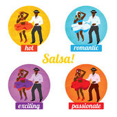Salsa dancing poster for the party — Stock Vector