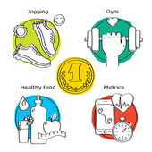 Jogging and running winner icons — Stock Vector