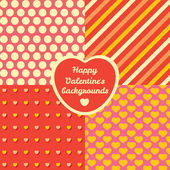 Valentine's Day four pattern set — Vetor de Stock