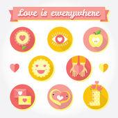 Love is cute icon and symbols set. — Fotografia Stock