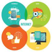 Mobile, search optimization and internet marketing illustration set. Stylish design elements or icons on colored background. — Stock Photo
