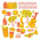 Salsa dance and music instruments icons — Stock Vector