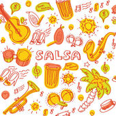 Salsa music instruments pattern — Stock Vector