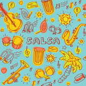 Salsa music instruments pattern — Stock Vector