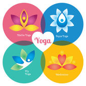 Yoga colored signs set — Stock Vector