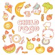 Child food menu with colorful fruits — Stock Vector #65267093