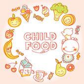 Child colorful food set — Stock vektor