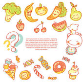 Child food set of colorful fruits — Stock Vector