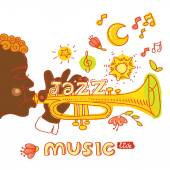 Jazzman playing Trumpet — Stock Vector