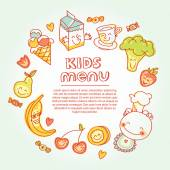 Child and baby food, kids menu with colorful smiling fruits, vegetables, sweets, cookies — Stock Photo