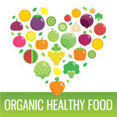 Vegetables and fruits round flat icons in heart. Organic healthy food.  — Stock Photo