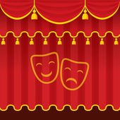 Theater stage with red closed curtain and symbol.  — ストック写真