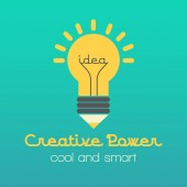 Creative idea vector illustration with lamp and pencil — Стоковое фото