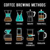 Coffee brewing methods icons set — Stock Vector