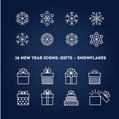 Snowflakes and gifts outline icons set — Stock Vector