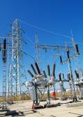 High voltage electrical substation — Stock Photo