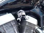 Motor de la motocicleta plateado cromo brillante — Foto de Stock