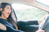 Female driver in a bad situation — Stock Photo
