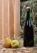 Pear juice bottle with two pears — Zdjęcie stockowe