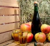 Bottle of cider with some apples and straw — Foto Stock