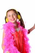 A pretty little girl with a pink feather boa  — Stock Photo