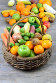 Fruit and vegetable basket — Stock Photo