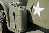 Military jerrycan on a truck — Stockfoto