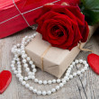 Red rose with little jewel for valentine day — Stock Photo #62870231