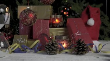 Christmas gifts and decorations — Stock Video