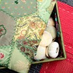 Pretty box in fabric with seashells — Stock Photo #71910359