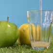 Glasse of cider with  apples — Stock Video #72661957
