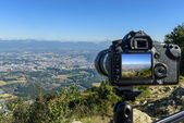 A view to Geneva with a camera — Stock Photo